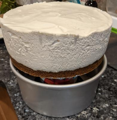 Pull pan down from cheesecake